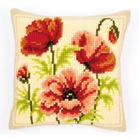 NEW Wild Poppies Chunky Cross Stitch cushion front Tape