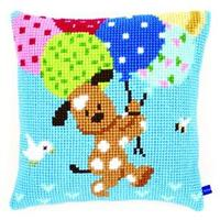 Dog With Balloons Chunky Cross Stitch Cushion Front Kit 40x40cm