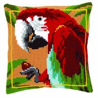 Red Macaw Chunky Cross Stitch Cushion Front Kit 40x40cm