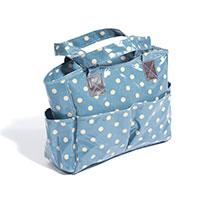 Vinyl Knitting Bag Craft Storage Bag - Blue Spot