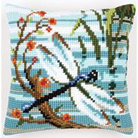Dragonfly Chunky Cross Stitch Cushion Front Kit 40x40cm