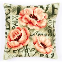 NEW Peonies Chunky Cross Stitch cushion front Tape
