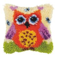 Orange Owl (Small) Latch Hook Cushion Front Kit. Orchidea, 25x25