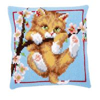Kitten In A Tree Chunky Cross Stitch Cushion Front Kit PN-014606
