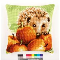 Hedgehog With Apples Chunky Cross Stitch Cushion Front Kit