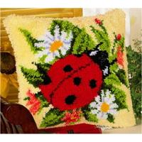 Ladybird on a posy latch hook cushion Front kit 16x16""