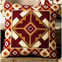 Red & Beige Chunky Cross Stitch Cushion Front Kit 16x16""