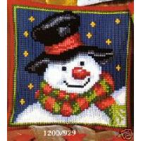 Christmas Snowman Cushion Front Tapestry Kit Vervaco