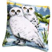 Snowy Owls Vervaco chunky cross stitch cushion front kit 40x40cm