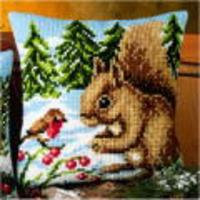 Winter Scene - Squirrel & Robin chunky cross stitch cushion fron