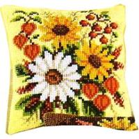 Autumn Bouquet Cross Stitch Cushion Front kit 16 x16