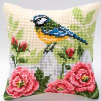 Blue Tits in flowers Chunky Cross Stitch Vervaco Cushion Front K