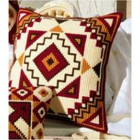 Geometric Red & Gold. Vervaco Chunky Cross Stitch Cushion Front