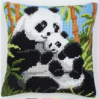 Mother & Baby Panda vervaco Chunky Cross Stitch Cushion Front Ki