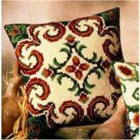 Green & Cream Chunky Cross Stitch Cushion Front Kit
