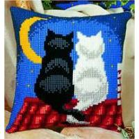 Moonlight Cats Chunky Cross Stitch  Cushion Front Kit