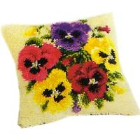 Posy Of Pansies Latch Hook Cushion Front Kit 16x16""
