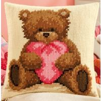 Poporn The Bear (Pink Heart) Chunky Cross Stitch Cushion Front k