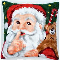 Santa Hush! Chunky Cross Stitch Tapestry cushion Front Kit 139