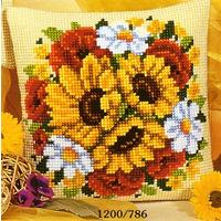 Sunflower & Poppy cushion front tapestry kit