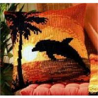 Sunset Dolphin Cushion Front Tapestry Kit by Vervaco
