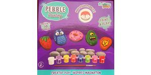 Pebble Painting kit with 10 pebbles, paints and brush