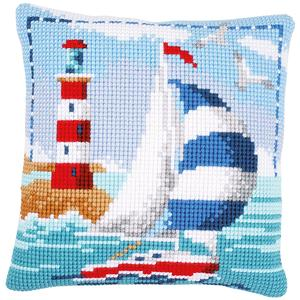 Sailing Boat Chunky Cross Stitch Cushion Front Kit Vervaco