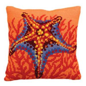 Orange Starfish Chunky Cross Stitch Cushion Front Kit