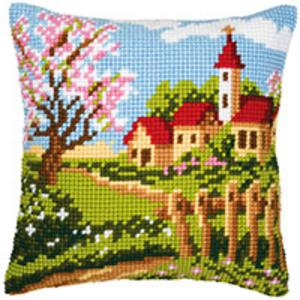 Church Scene Cushion Front Tapestry Kit Vervaco