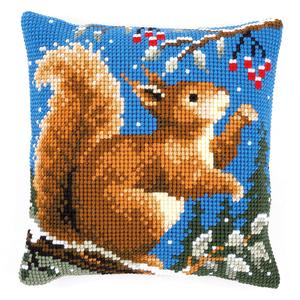 Squirrel In Winter Chunky Cross Stitch Cushion Front Kit