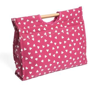 Knitting & Sewing Bag with Wooden Handles - Raspberry Hearts