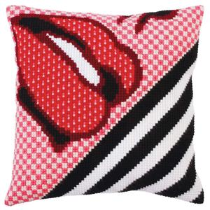 Red Lipstick Chunky Cross Stitch Cushion Front Kit