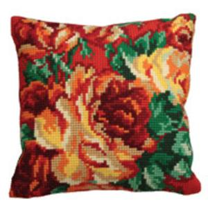 Cabbage Rose Design Chunky Cross Stitch Cushion Front Kit