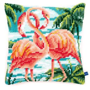 Flamingoes Chunky Cross Stitch Cushion Front Kit 40x40cm