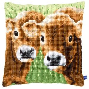 Two Calves Chunky Cross Stitch Cushion Front Kit