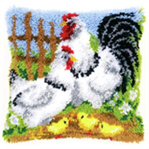 Chicken Family Latch Hook Cushion Front kit 40x40cm
