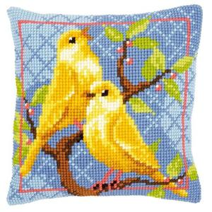 Canaries Printed Chunky Cross Stitch Cushion Front Kit 40x40cm
