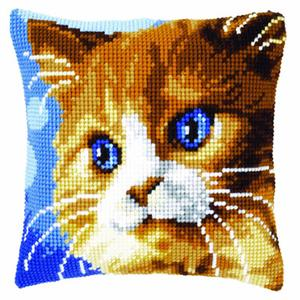 Brown Cat Chunky Cross Stitch Cushion Front Kit