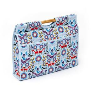 Knitting & Sewing Bag with Wooden Handles - Forest Fox Scene