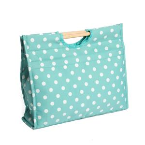 "Knitting & Sewing Bag with Wooden Handles -""Duck Egg Spot"" Desig"
